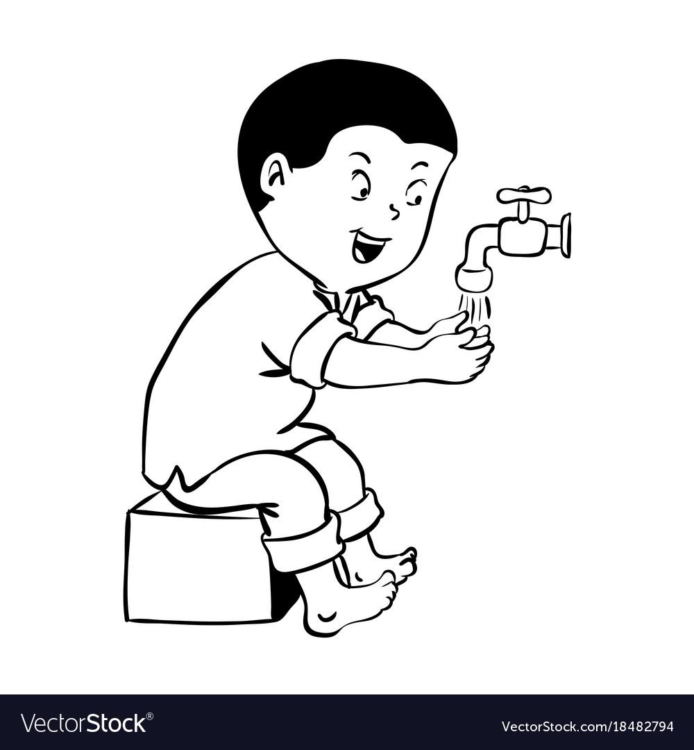 Boy warshing hand for wudhu