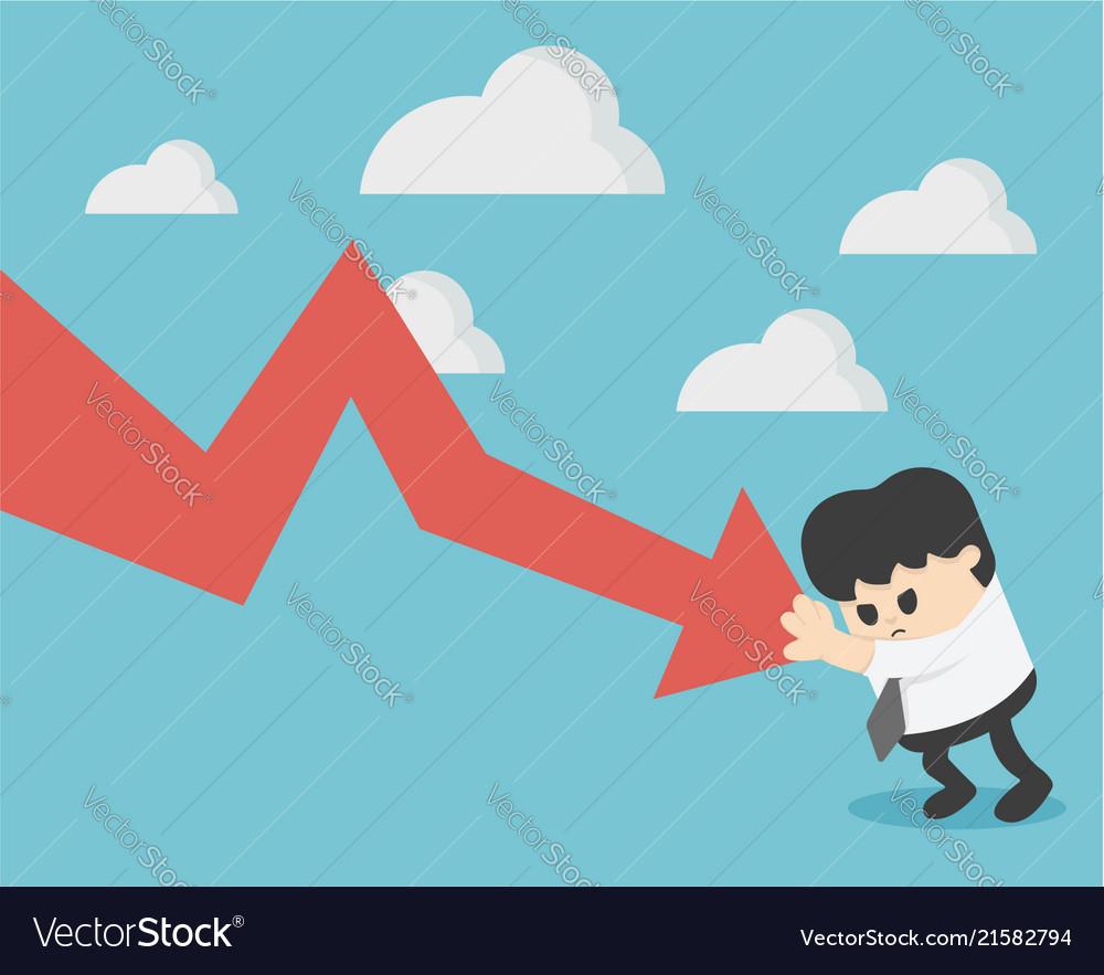 Businessman prevent arrow graph going down