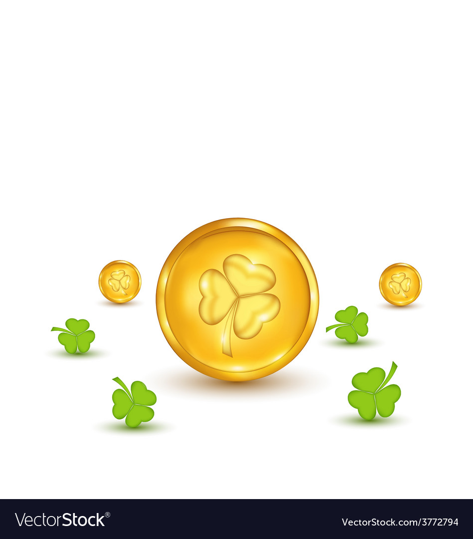 Clovers and coins with shadows on white background