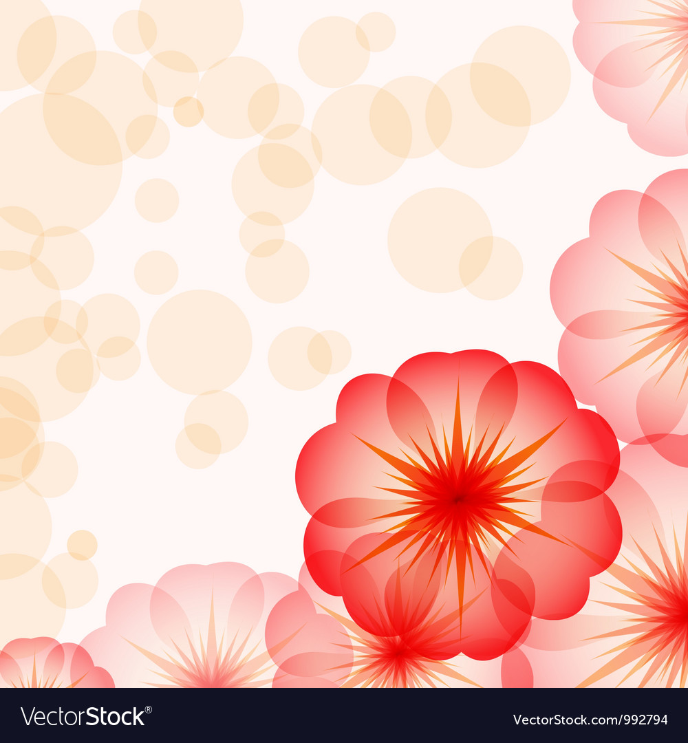 Eps10 Romantic Floral Background With Red Flowers Vector Image