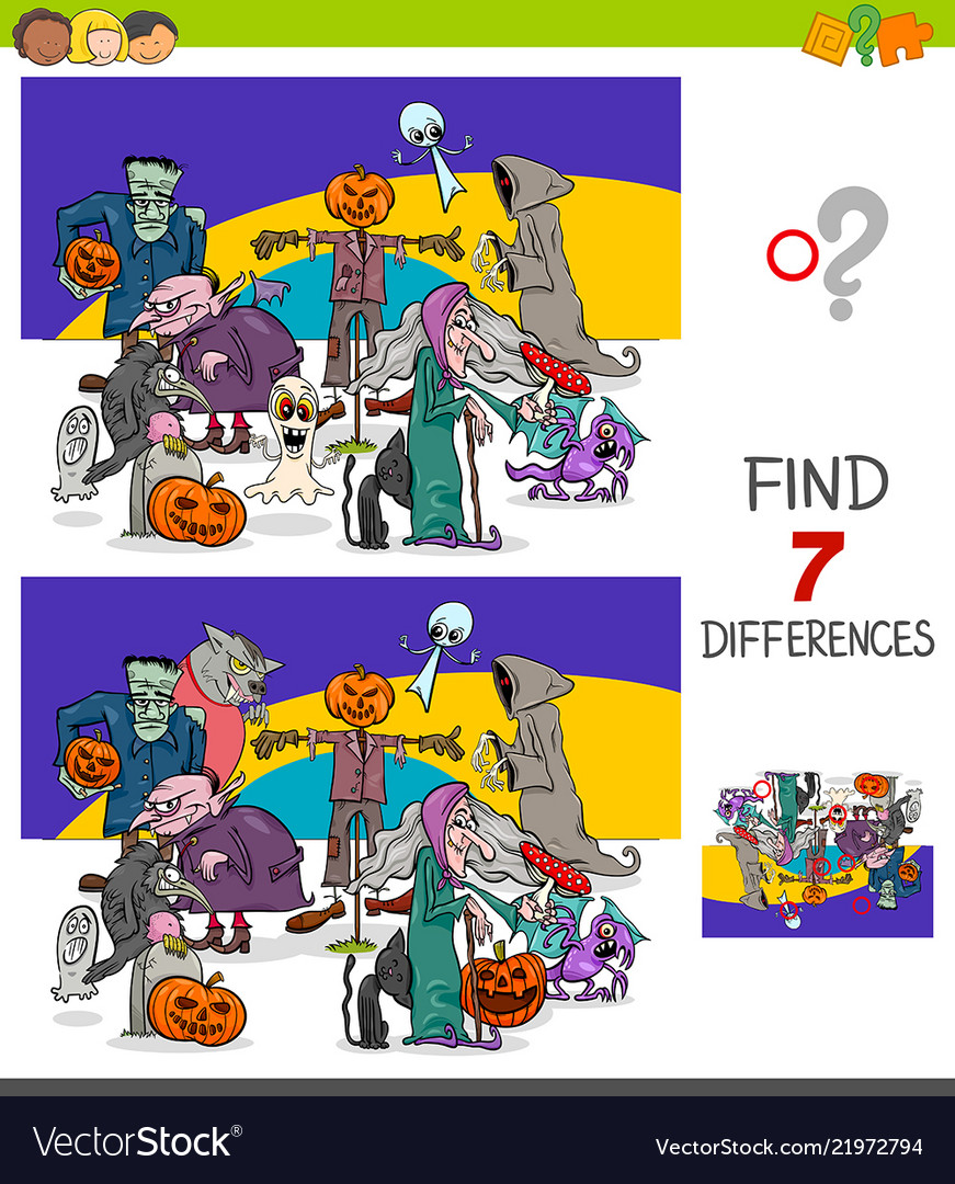 Find differences game with halloween characters