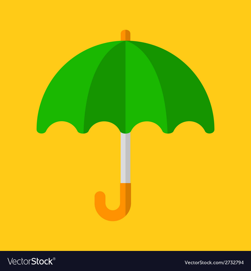Green Umbrella Icon in Flat Design Style vector image