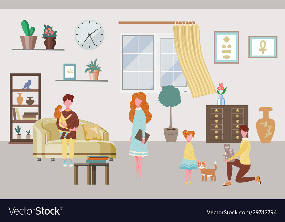 Happy family characters at home interior parents