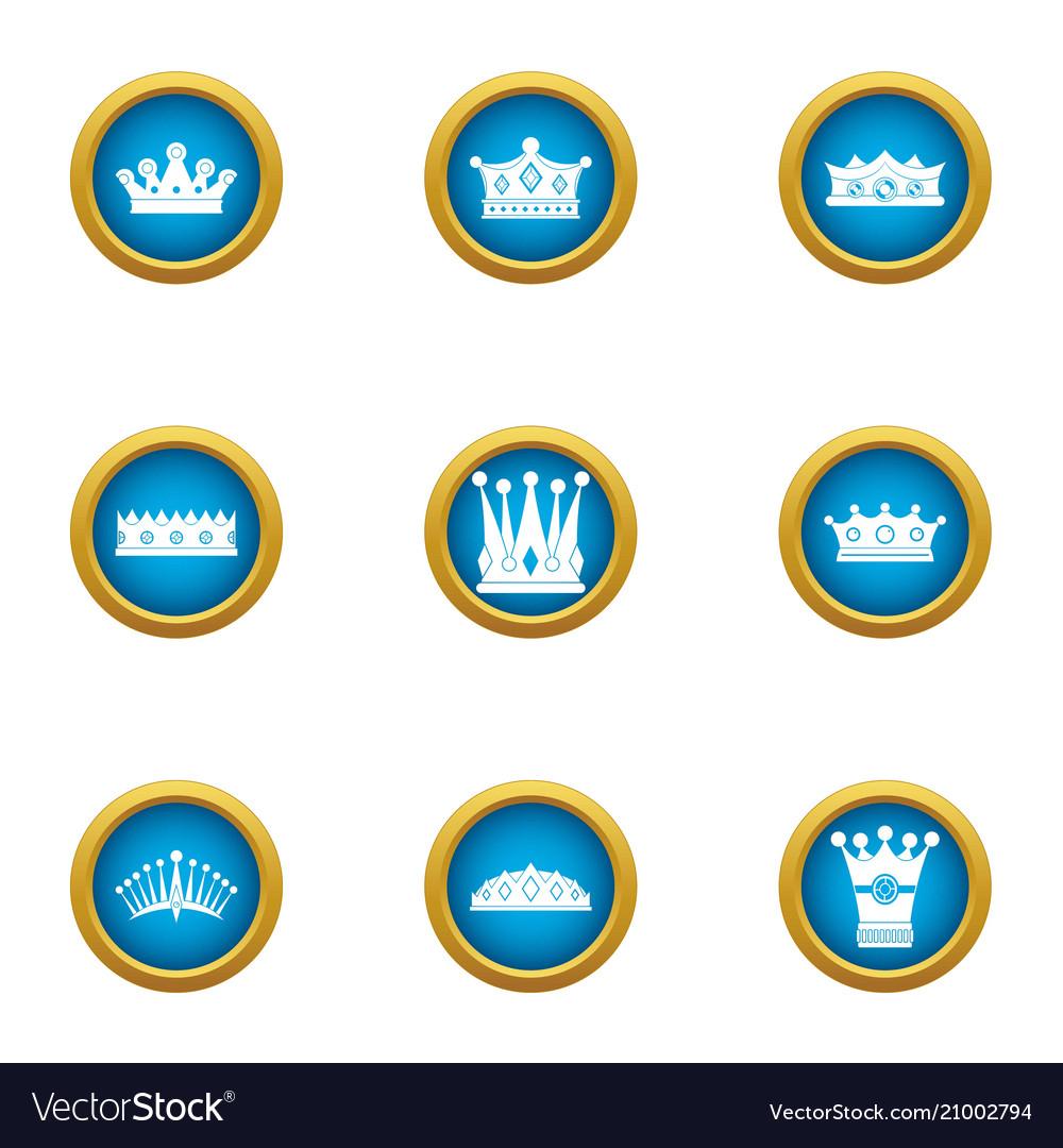 King head icons set flat style