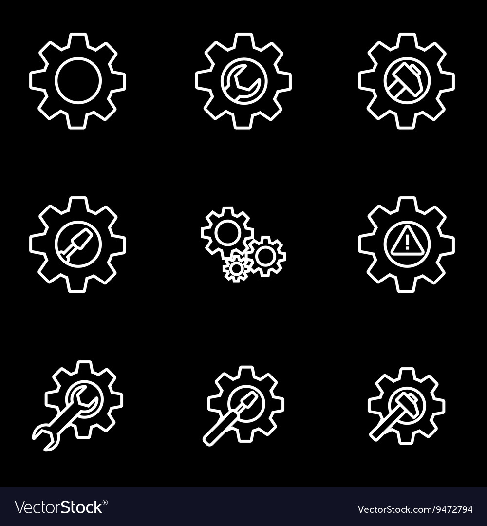Line tools in gear icon set vector