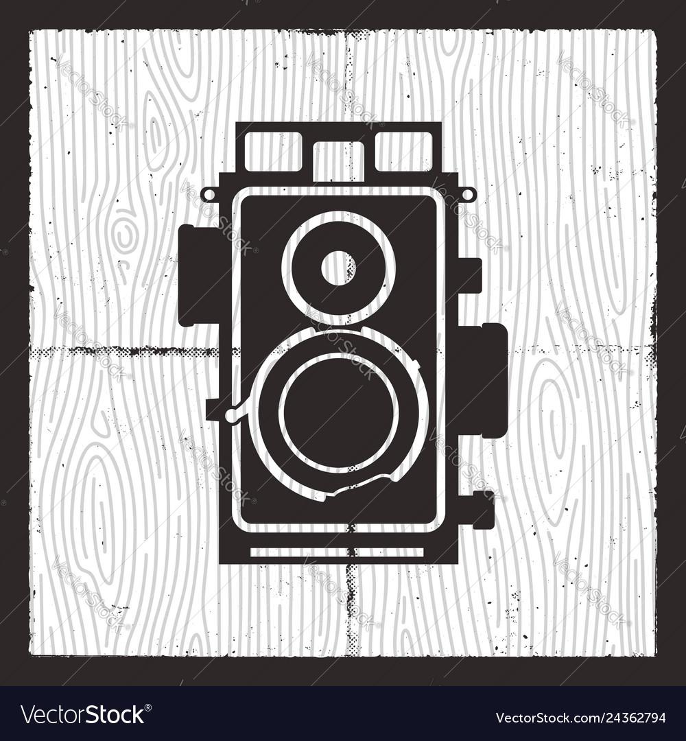 Retro camera card design silhouette vintage