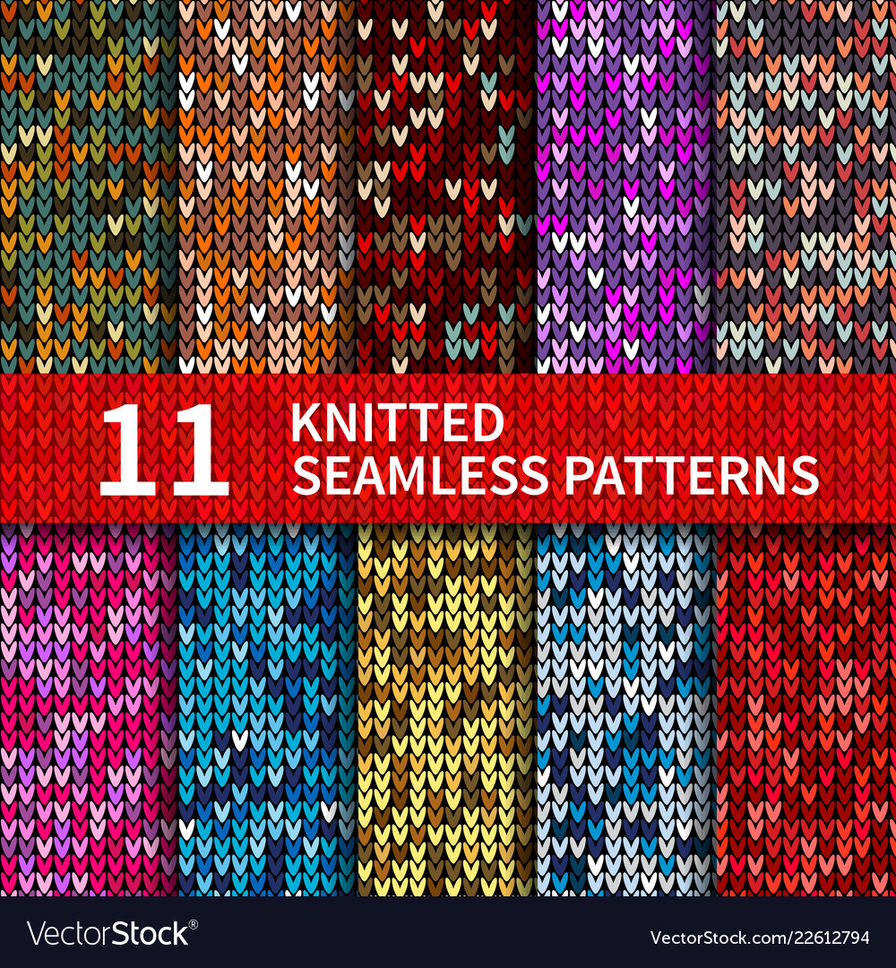 Seamless patterns with knitted sweater texture