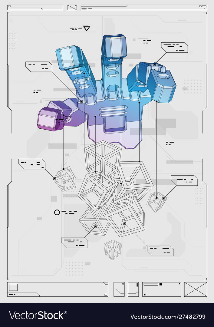Abstract futuristic poster with robot hand