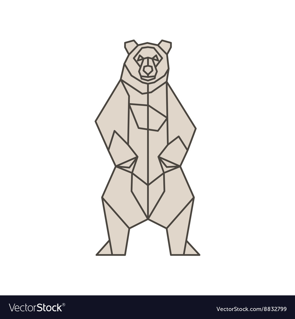 Bear of the contour lines polygons low poly