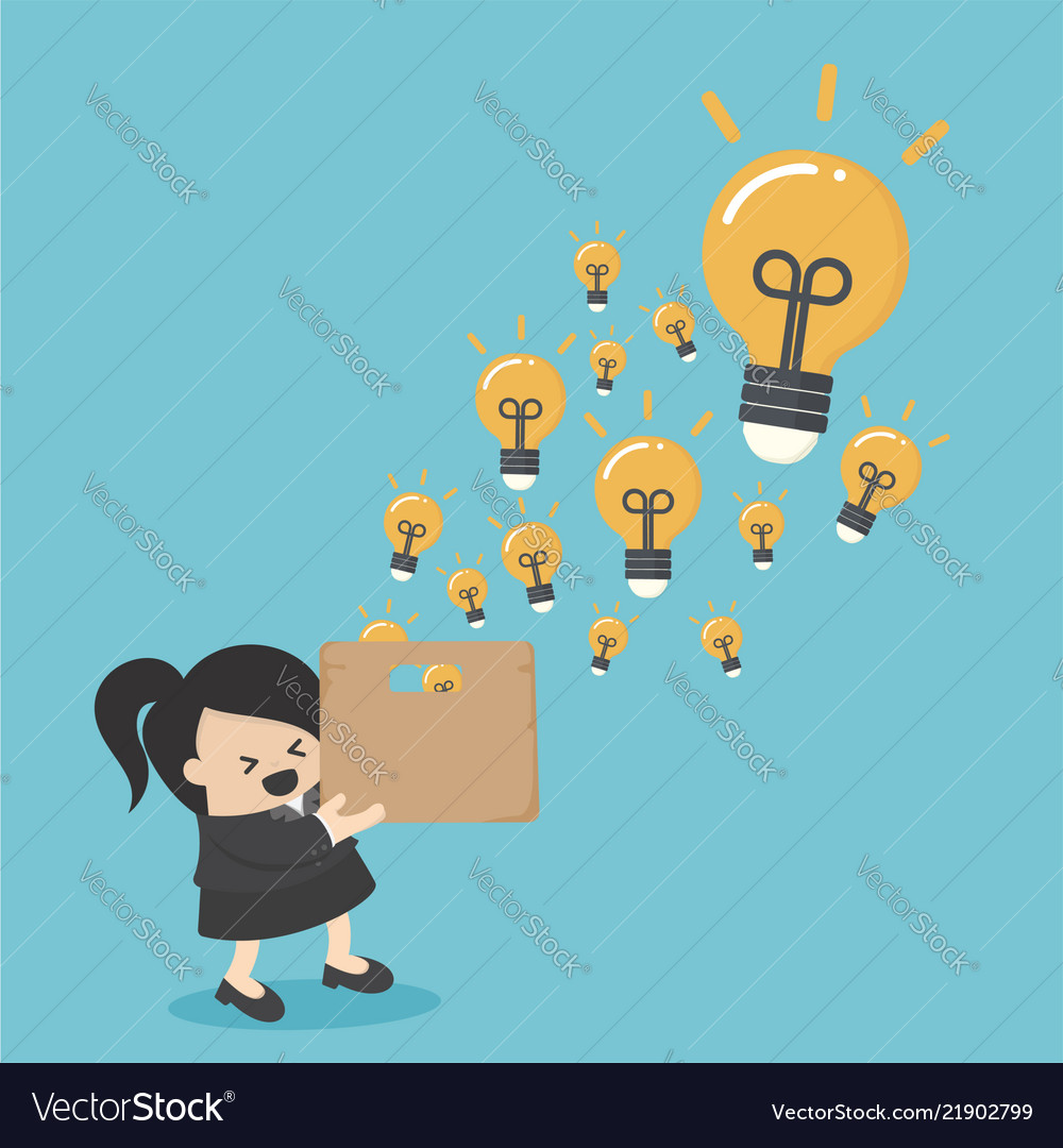 Businesswoman hold boxes of creativity
