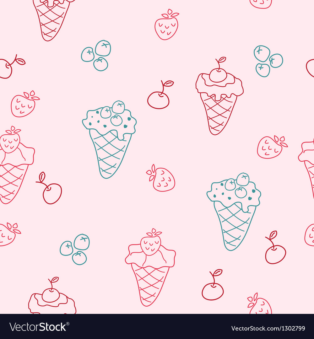 Cartoon seamless background with ice cream