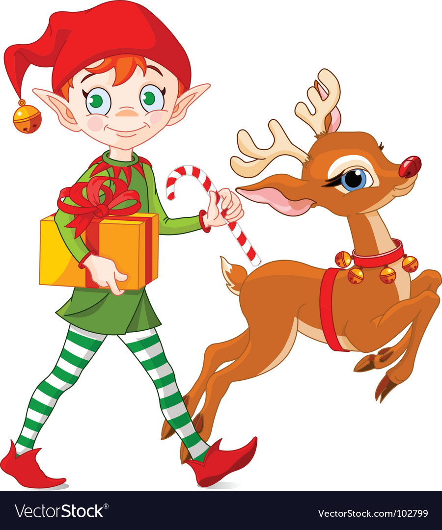 Christmas elf and Rudolph vector image