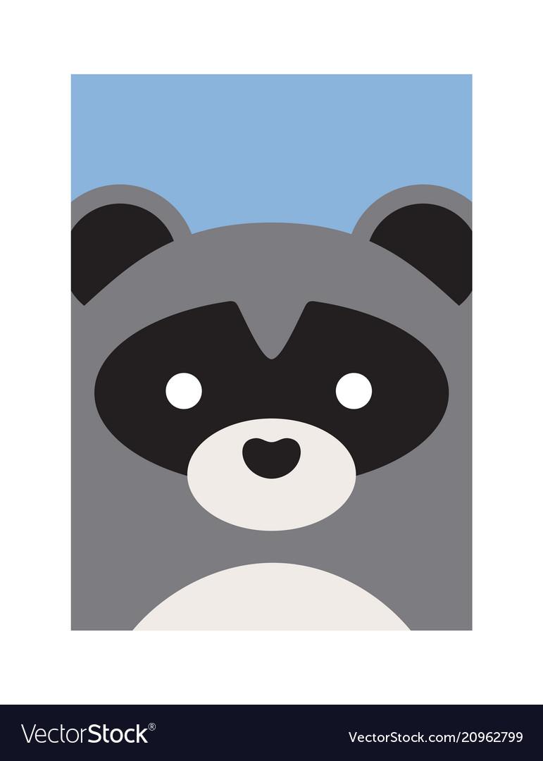 Cute cartoon raccon animal