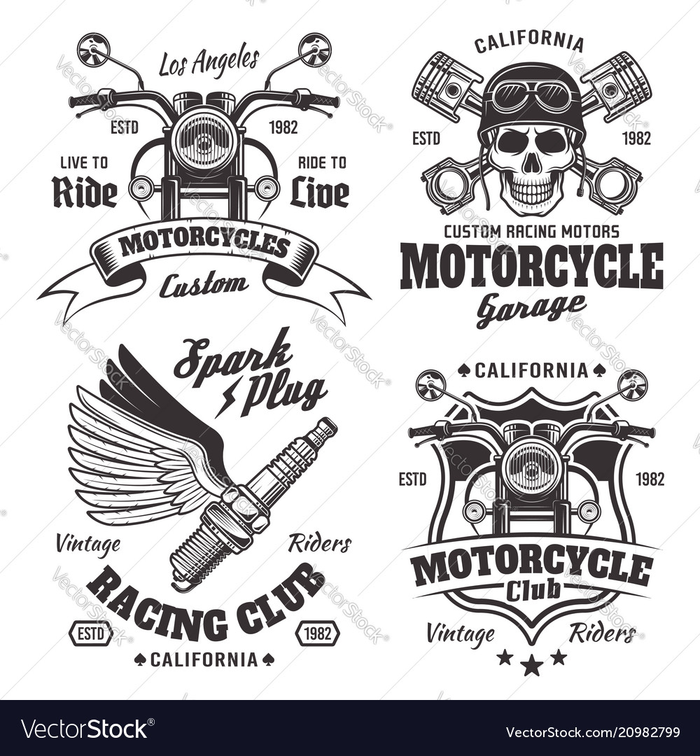 Mmotorcycles emblems labels in monochrome style