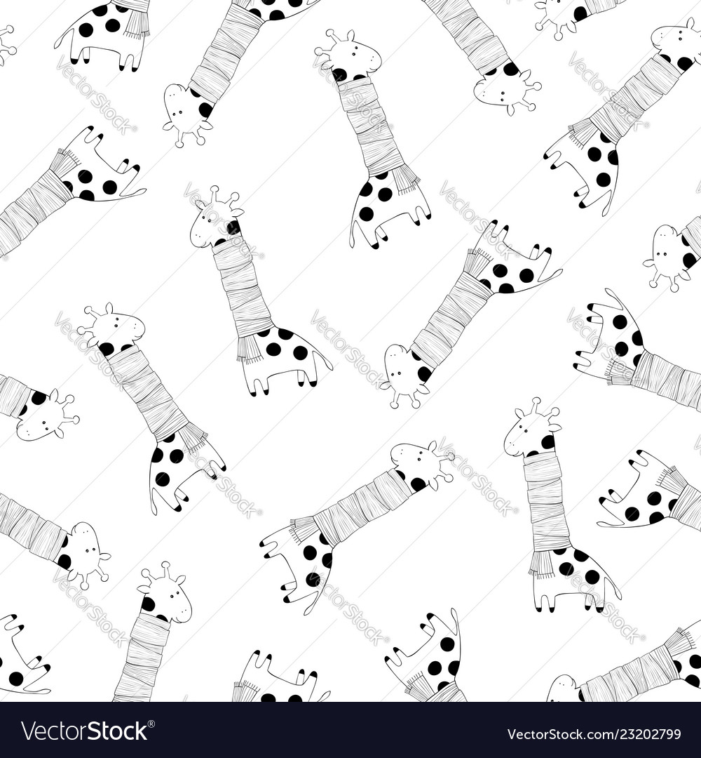 Monochrome seamless pattern with giraffes