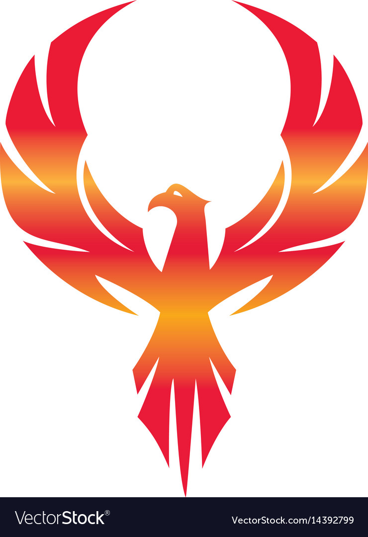stylized graphic phoenix bird flying with expanded