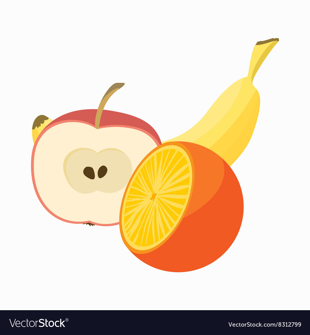Summer fruits icon cartoon style