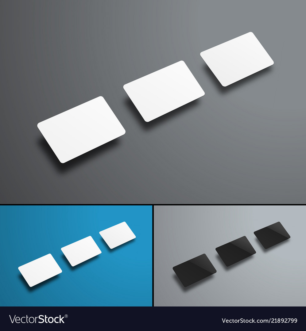 Universal mockups of three bank or gift cards