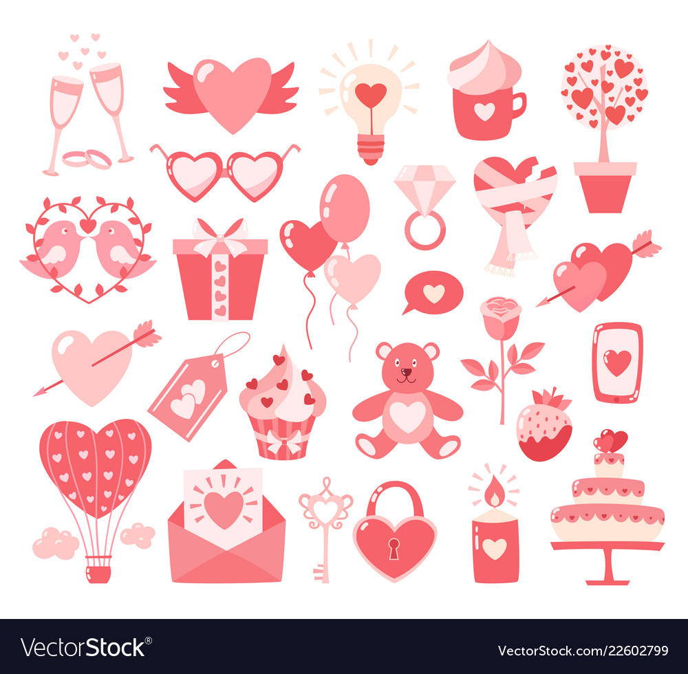 Valentines day flat icons isolated on white