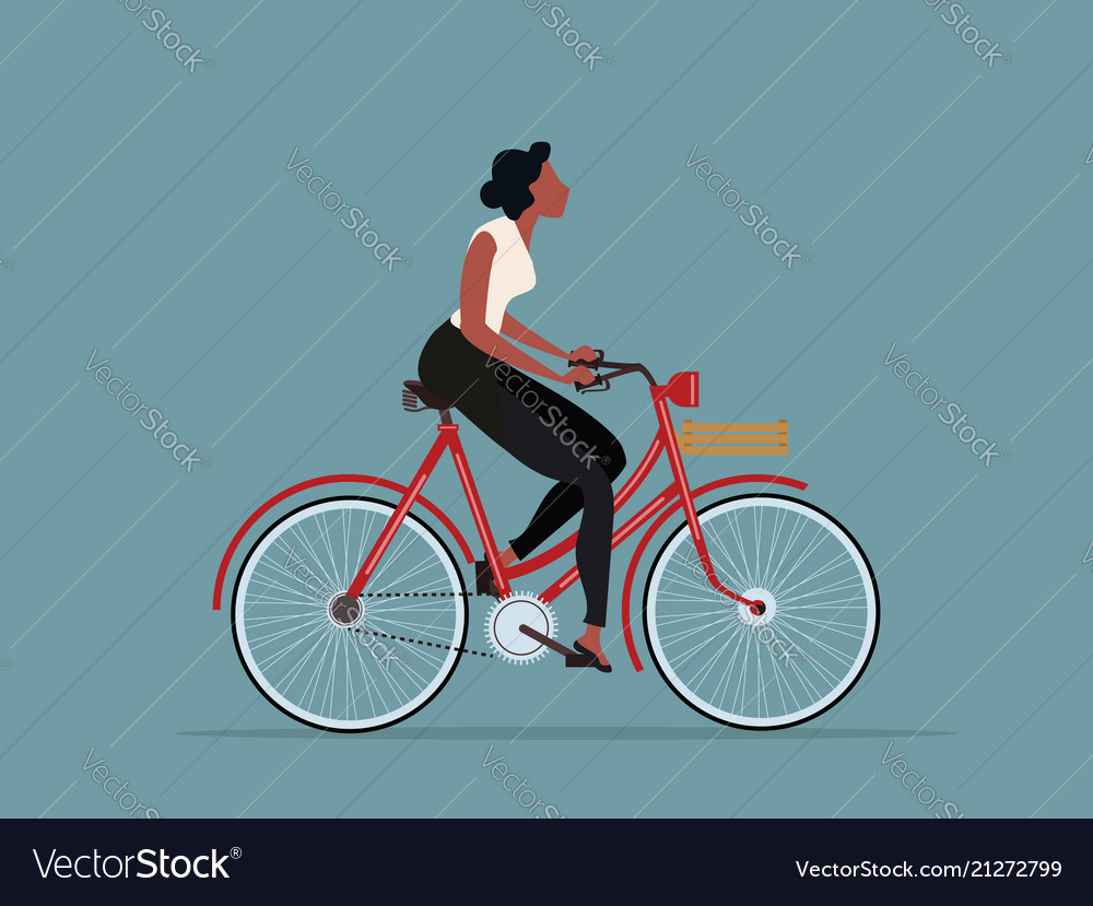 Vintage style woman riding a bicycle