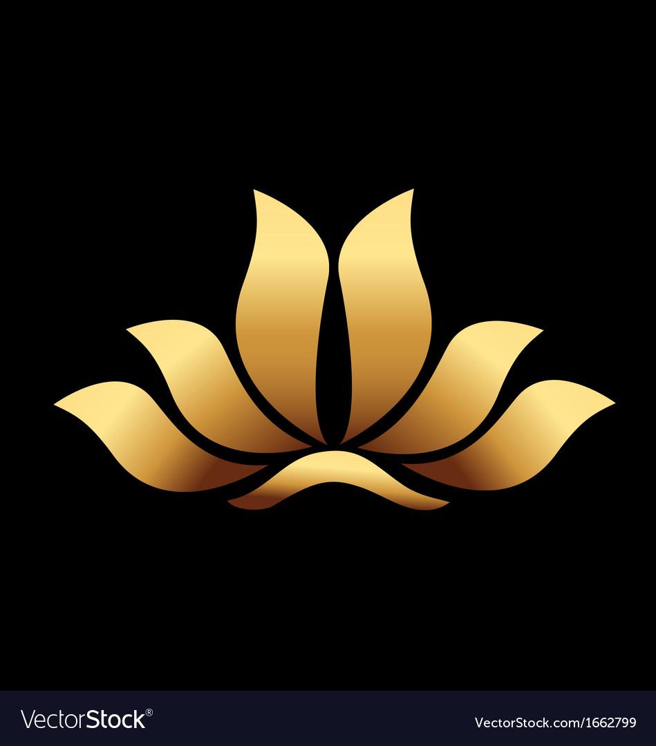 Yoga gold lotus flower vector image