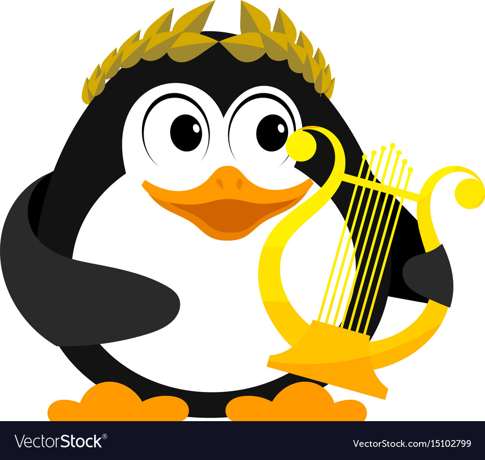 Young penguin with lyre cartoon image of a small