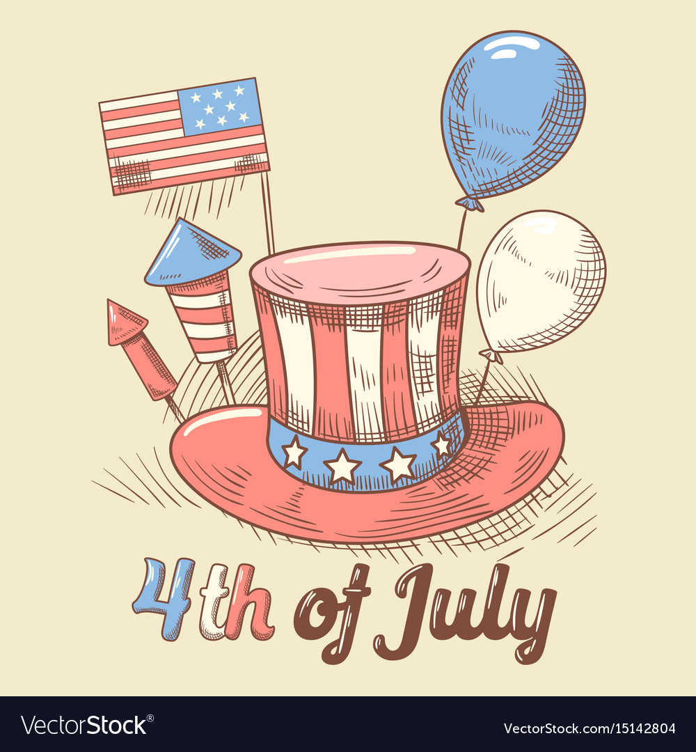 4th july usa independence day hand drawn design