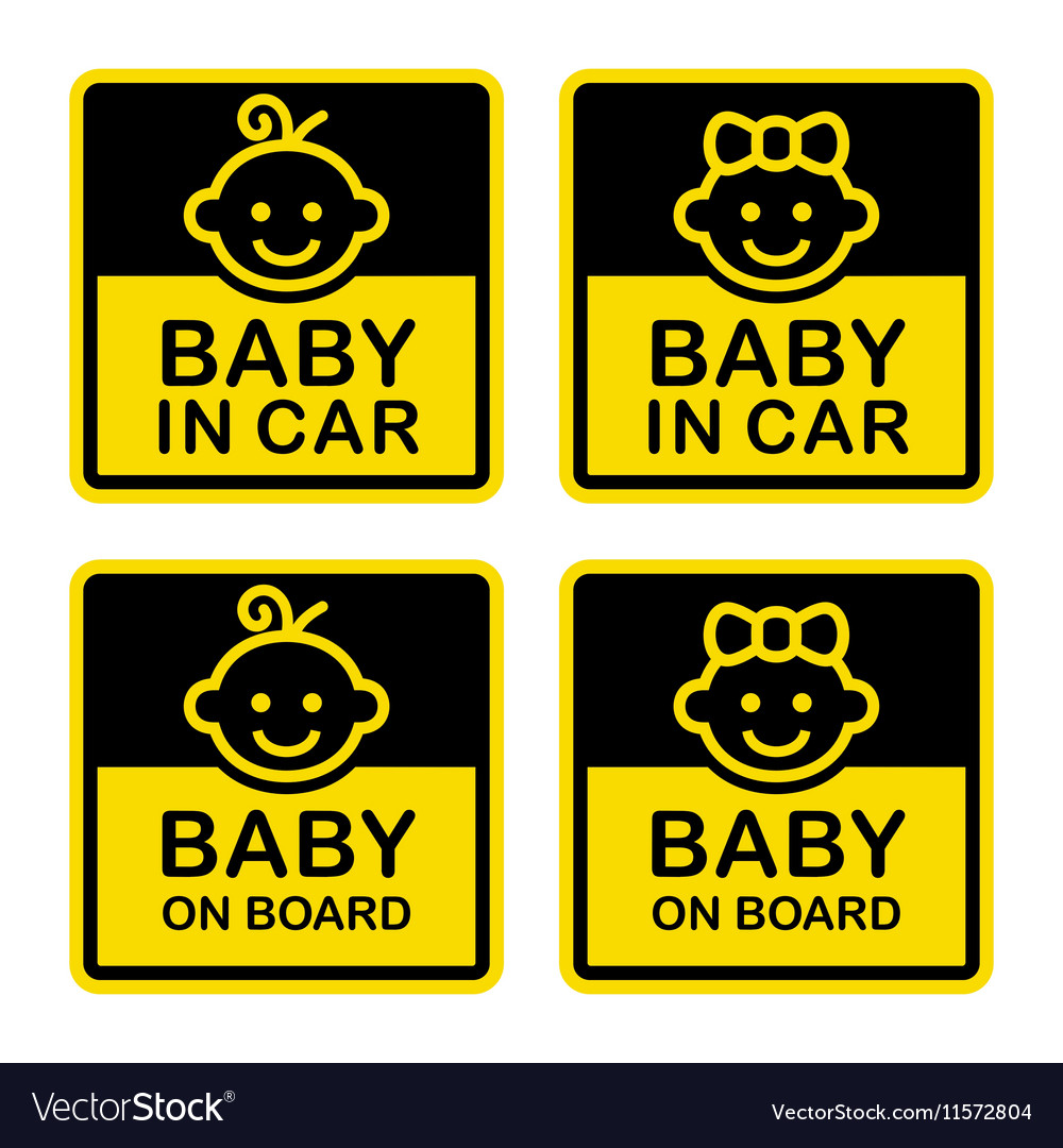 Baby on Board Sign Set White Background