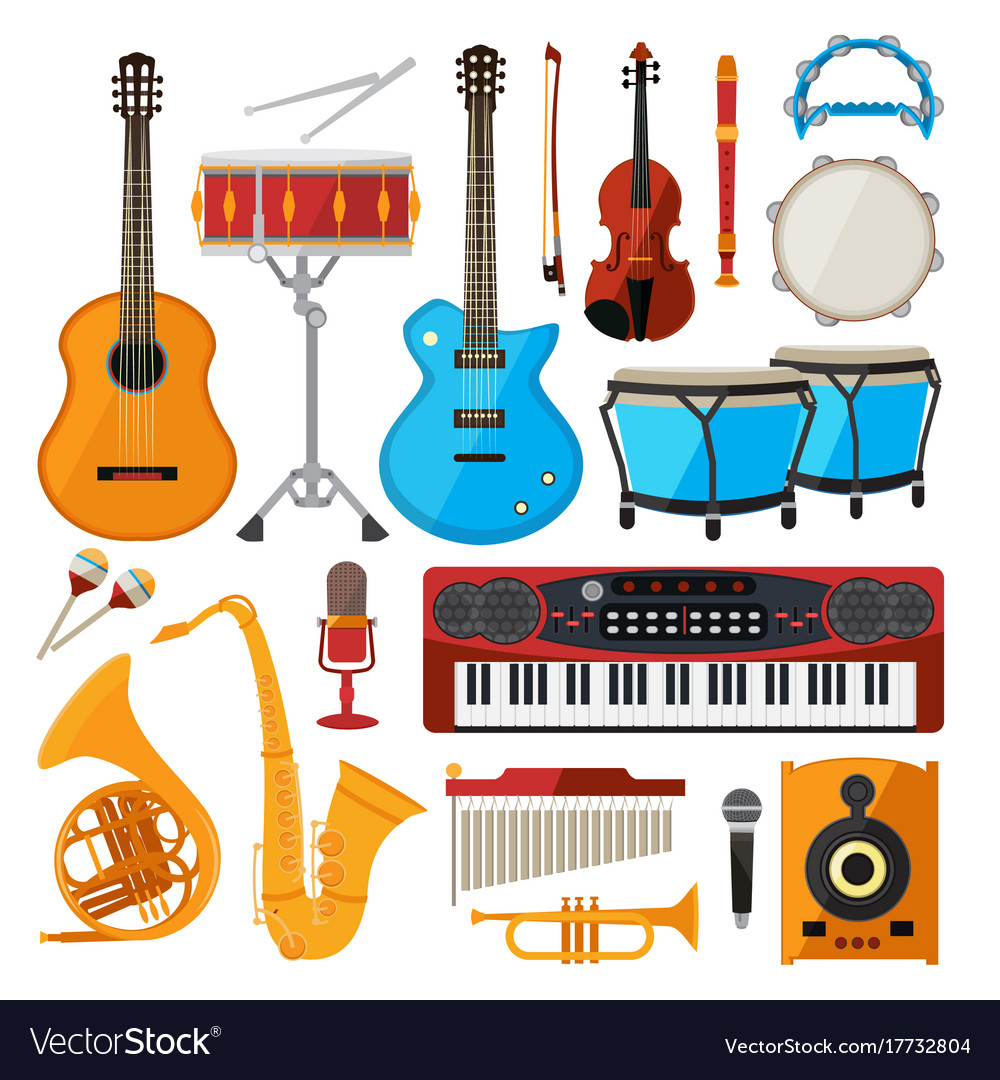 Bongo drums guitar and other musical instruments