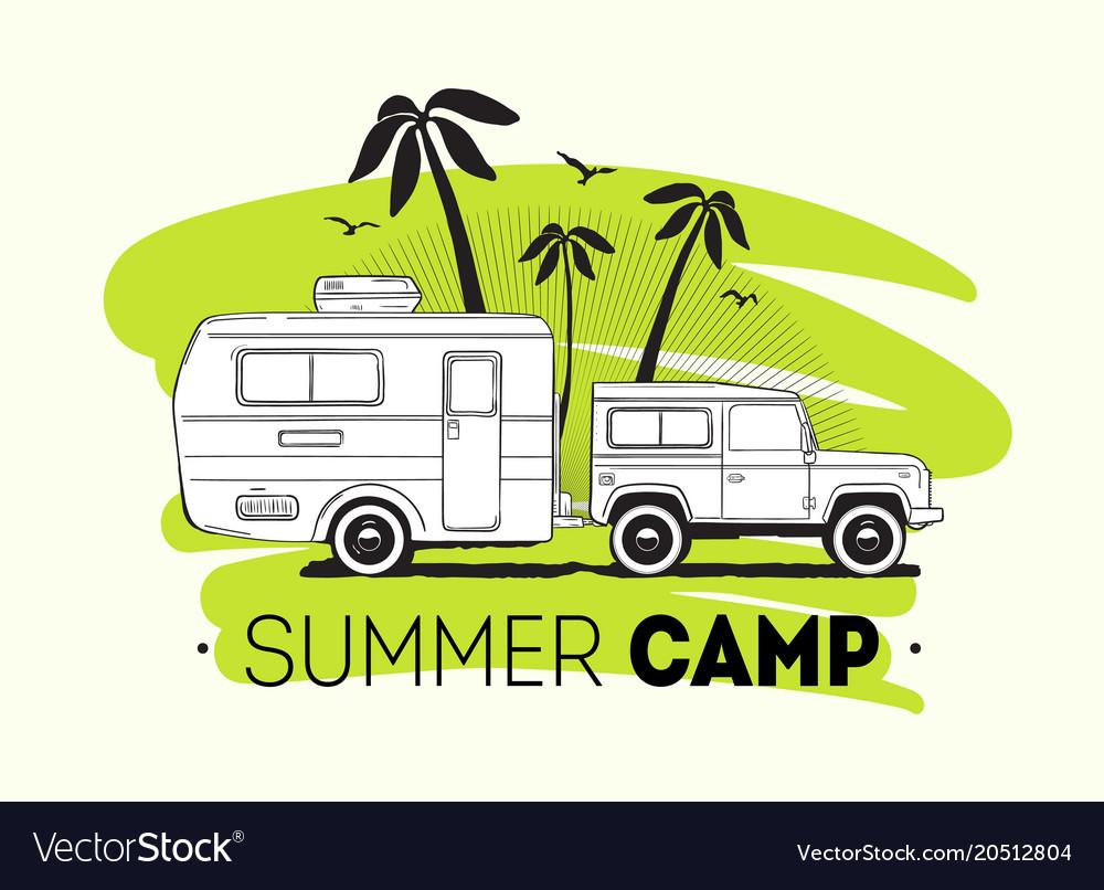 Car Towing Caravan Trailer Or Travel Camper Vector Image