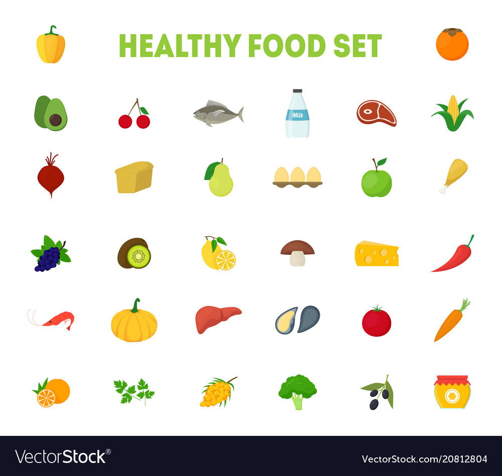 Cartoon healthy food signs color icons big set