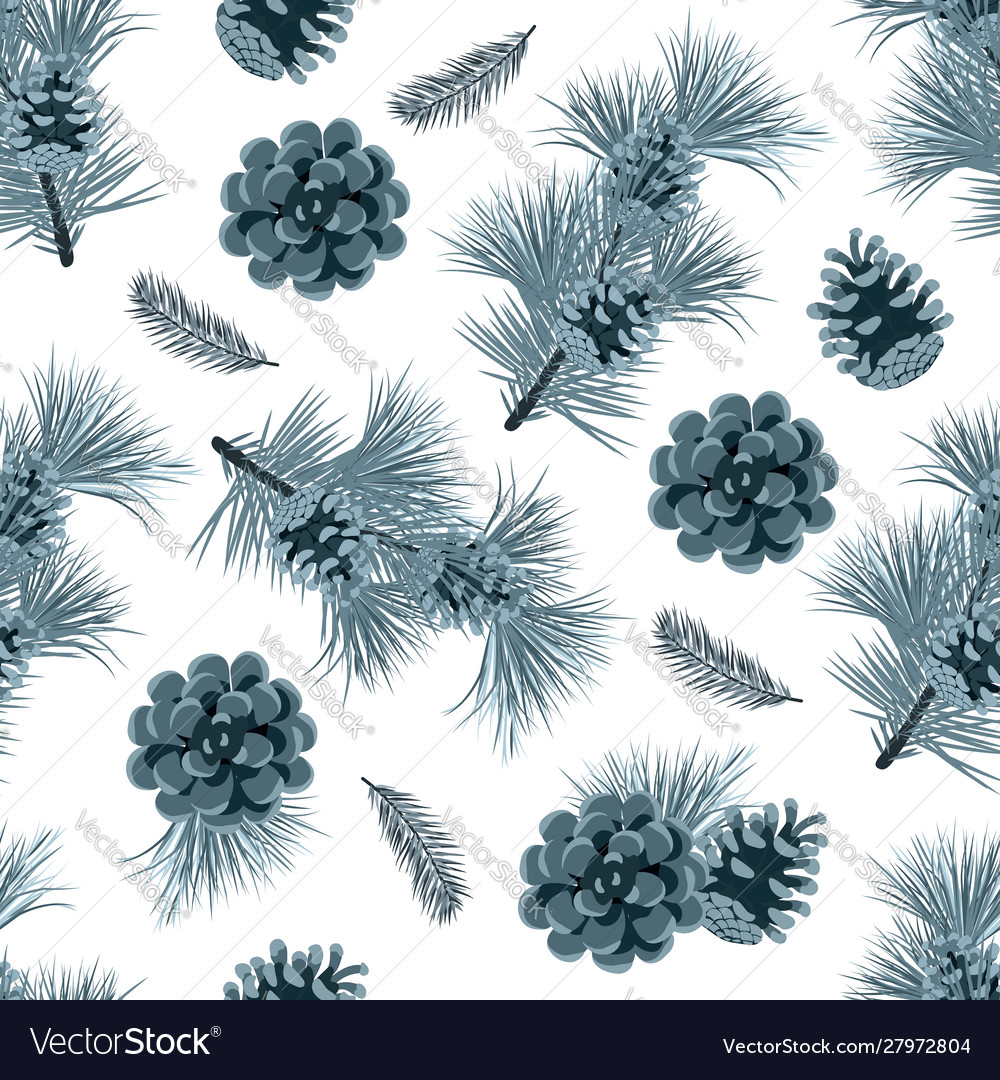 Christmas seamless pattern with green fir