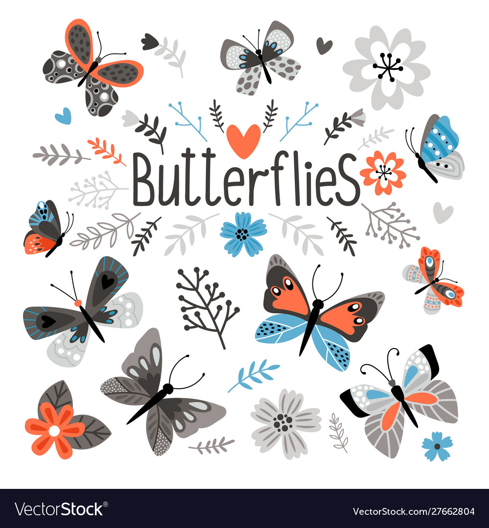 Cute butterflies and pretty flowers