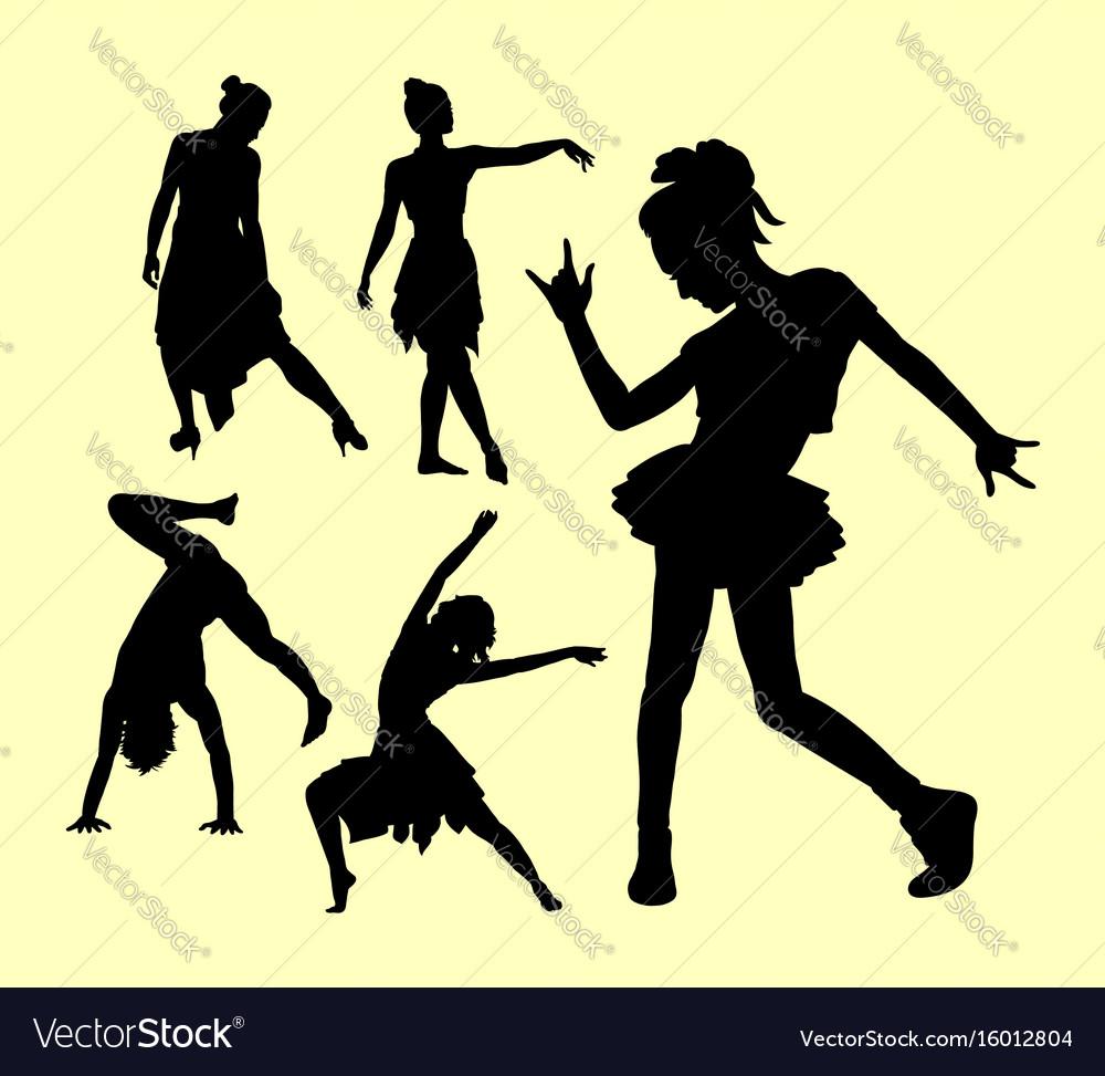 Dancing pose man and women silhouette