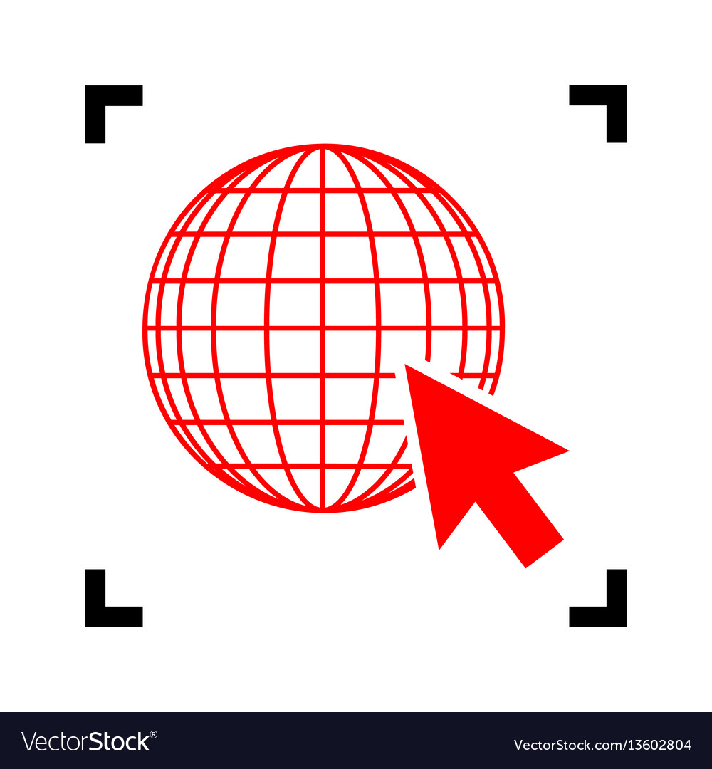 Earth globe with cursor red icon inside