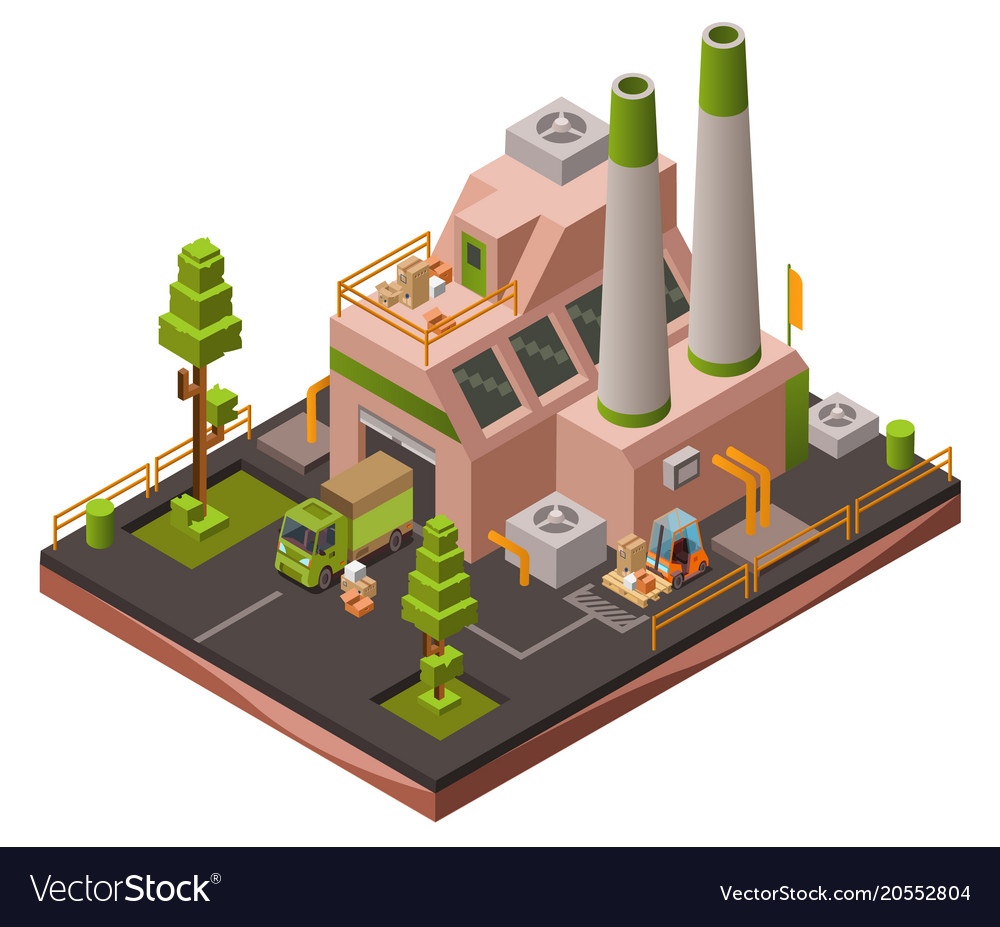 Factory plant isometric 3d of