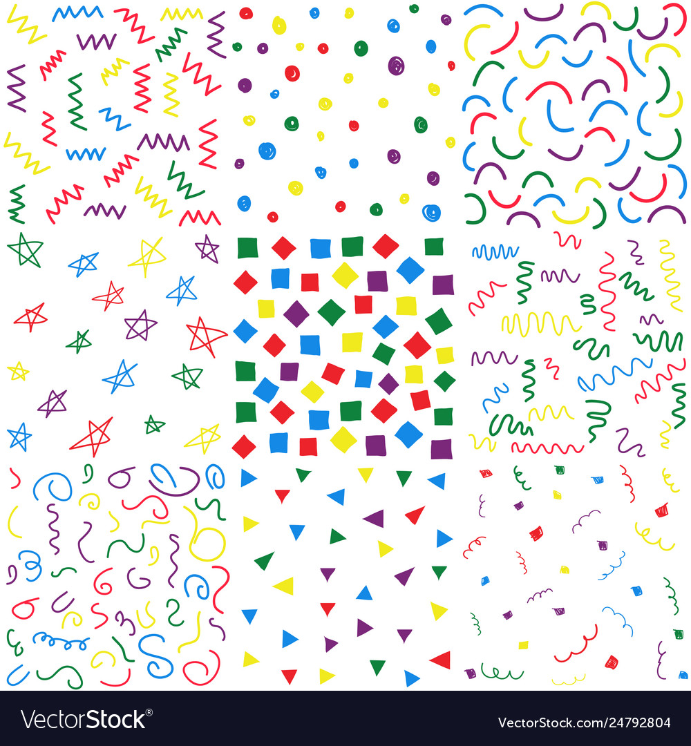 Hand drawn doodle seamless patterns