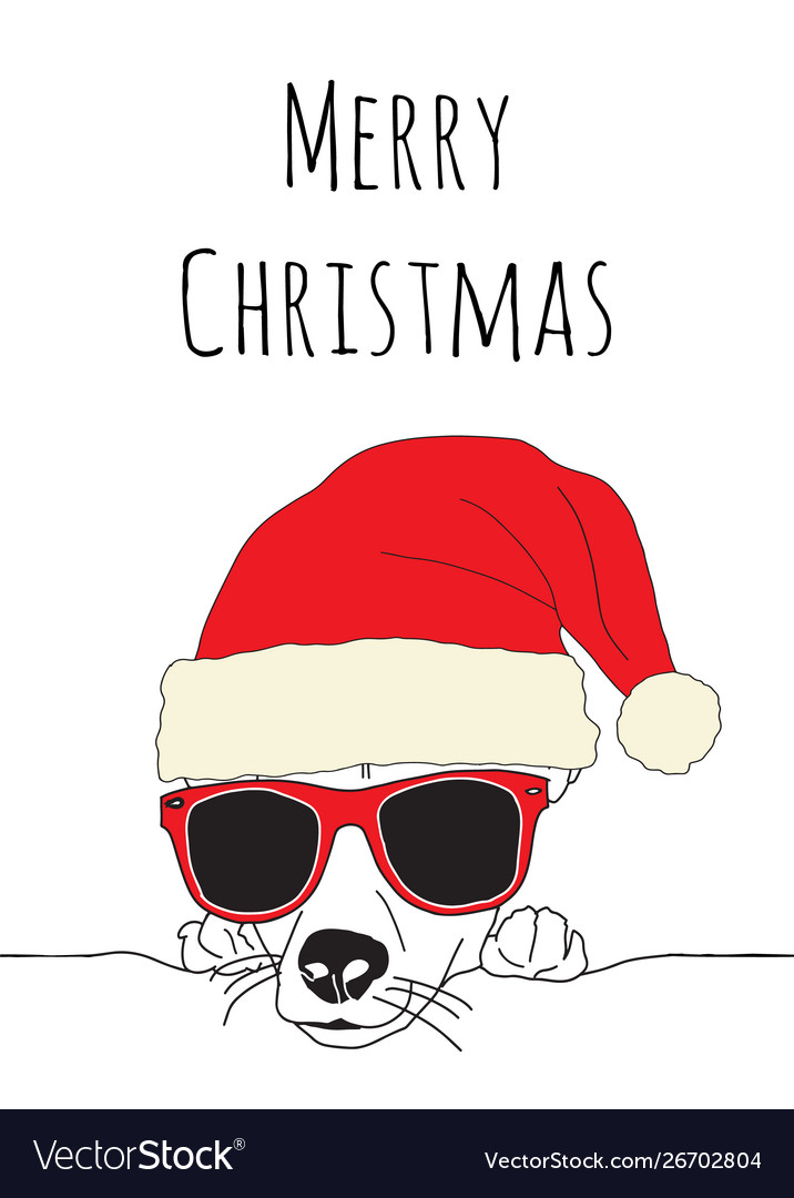Merry christmas and dog wearing santa hat vector