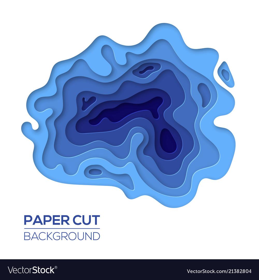 Modern paper cut art design template with waves