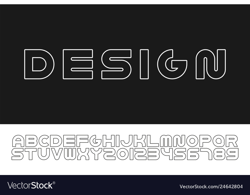 Outline modern font trendy english contour