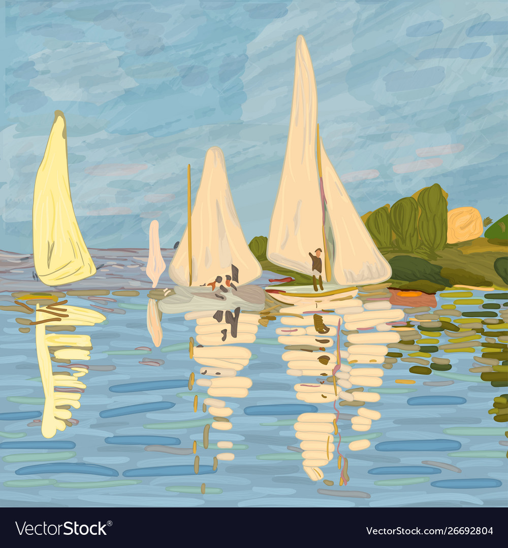 Sailboats in claude monet style