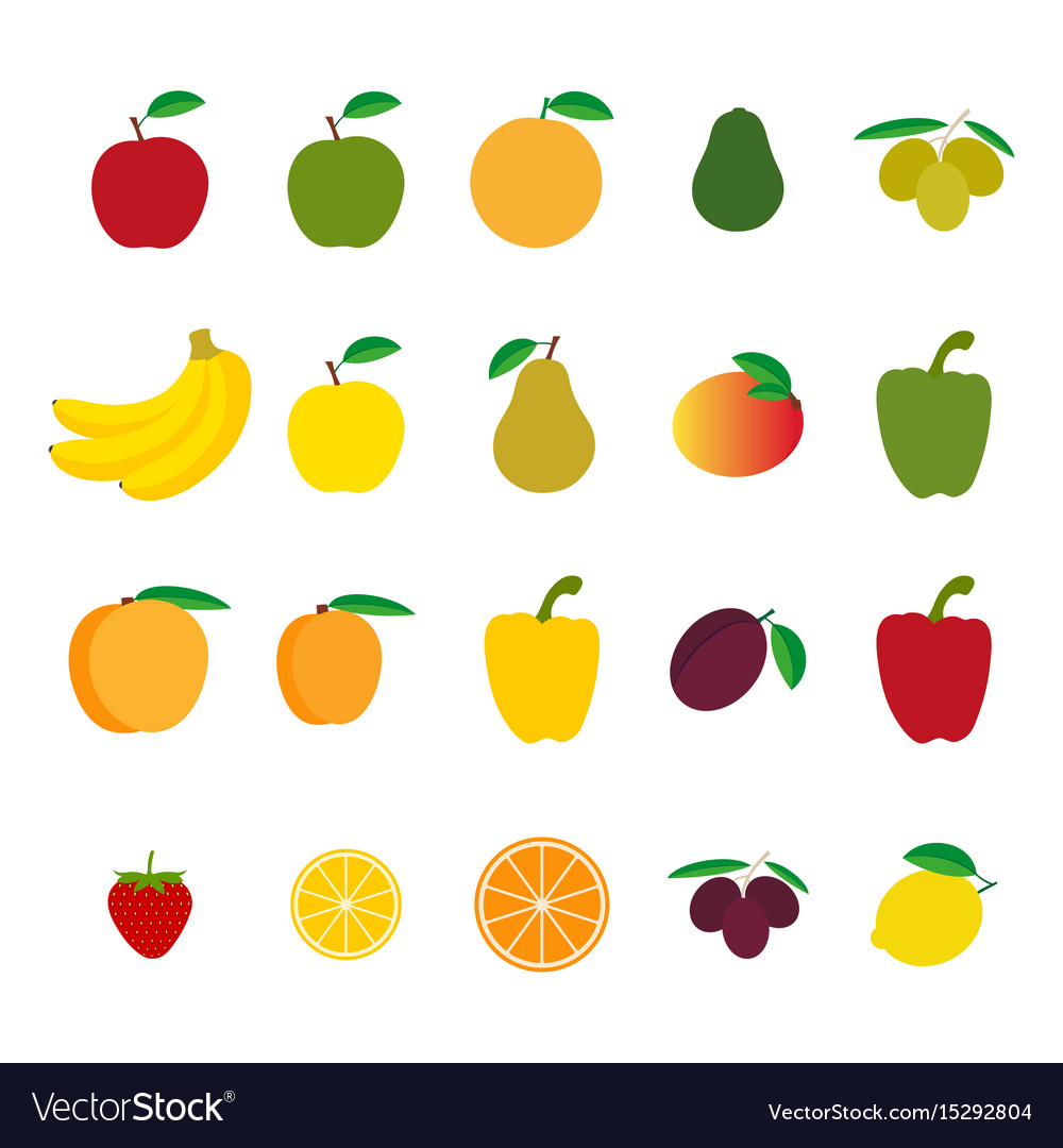 Set of fruit and vegetables