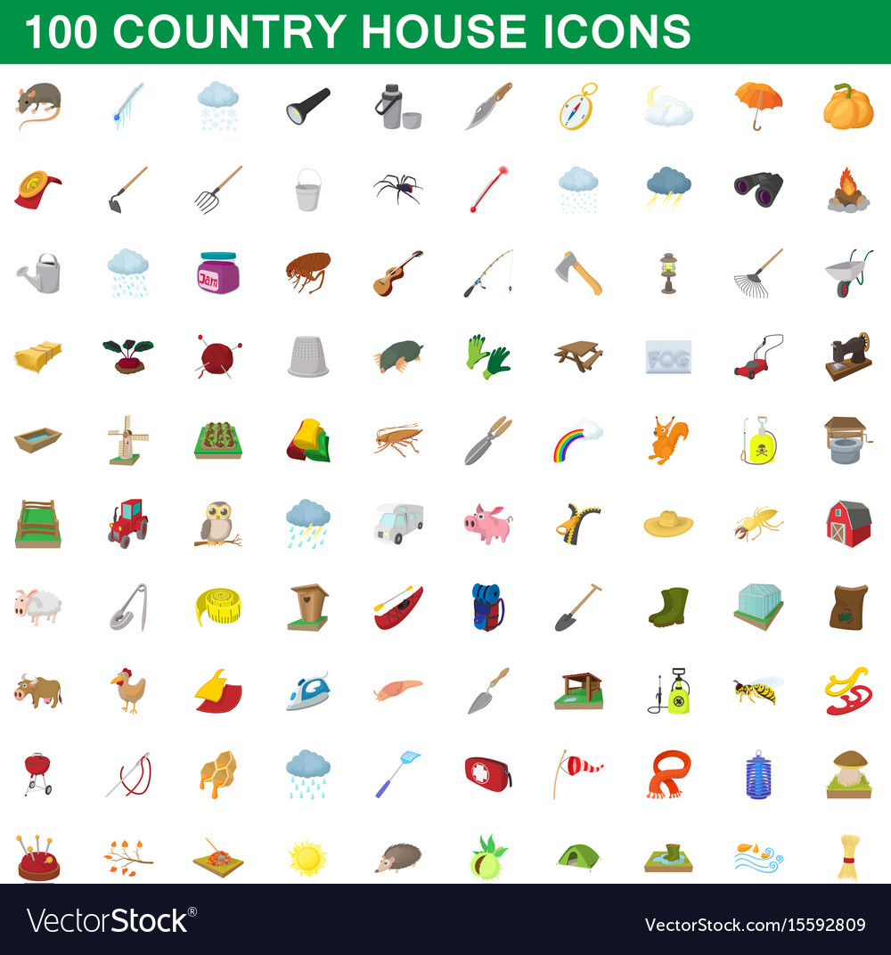 100 country house icons set cartoon style