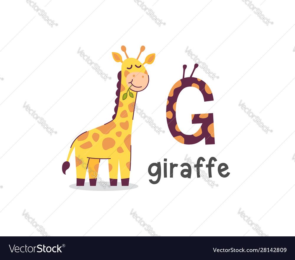 Alphabet letter g and giraffe