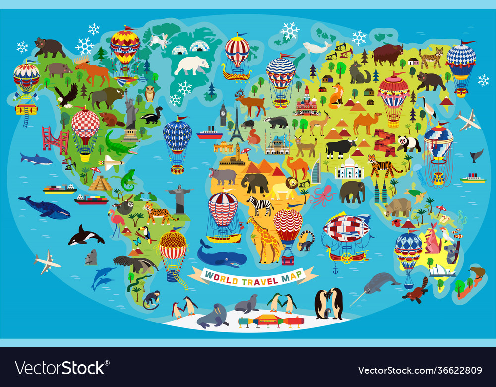 Animal map world with air balloons for