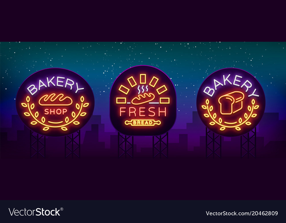 Bakery set logo fresh bread loaf