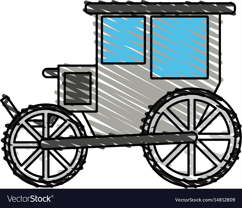 Color crayon stripe image wedding carriage without