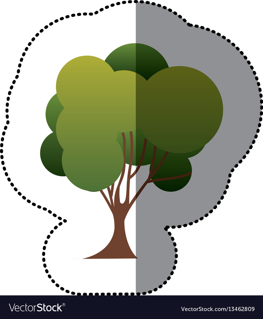 Color stamp tree art icon