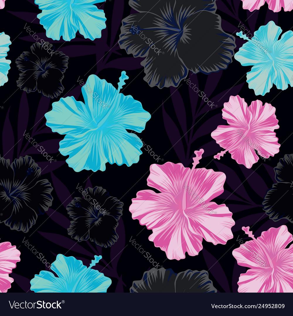 Dark pink blue hibiscus seamless black background