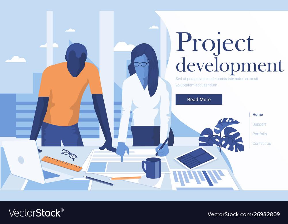 Flat modern design project development